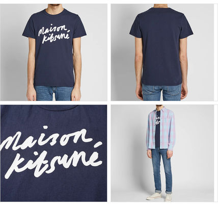 MAISON KITSUNE Crew Neck Crew Neck Pullovers Street Style Cotton Short Sleeves 6