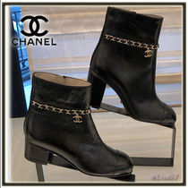 CHANEL Chain Plain Leather Block Heels Elegant Style