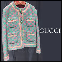 GUCCI Monogram Tweed Medium Elegant Style Jackets