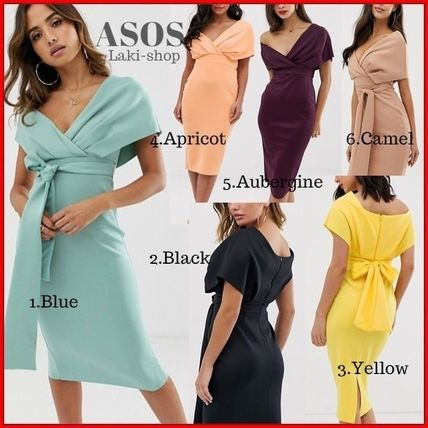 ASOS Dresses Tight V-Neck Plain Medium Party Style Dresses