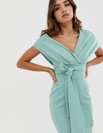 ASOS Dresses Tight V-Neck Plain Medium Party Style Dresses 2