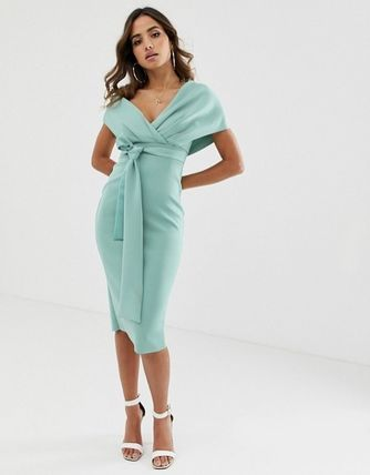 ASOS Dresses Tight V-Neck Plain Medium Party Style Dresses 4