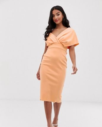 ASOS Dresses Tight V-Neck Plain Medium Party Style Dresses 11