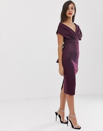 ASOS Dresses Tight V-Neck Plain Medium Party Style Dresses 13