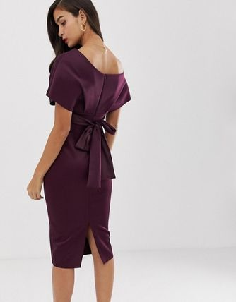 ASOS Dresses Tight V-Neck Plain Medium Party Style Dresses 14