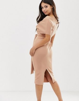 ASOS Dresses Tight V-Neck Plain Medium Party Style Dresses 16