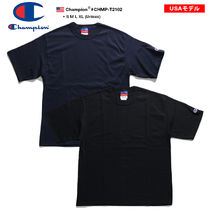 CHAMPION Crew Neck Unisex Street Style Plain Cotton Short Sleeves