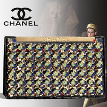 CHANEL Lambskin Blended Fabrics Bi-color With Jewels Elegant Style