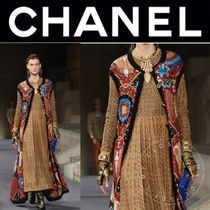 CHANEL ICON Crew Neck Other Check Patterns Maxi Street Style