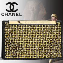 CHANEL Blended Fabrics Bi-color With Jewels Elegant Style Clutches