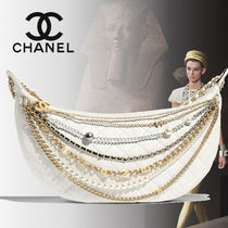 CHANEL Lambskin Blended Fabrics Chain Plain With Jewels