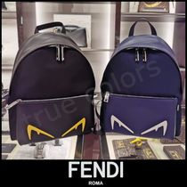 FENDI Calfskin Street Style Plain Backpacks