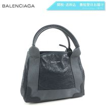 BALENCIAGA CABAS 2WAY Plain Leather Elegant Style Totes