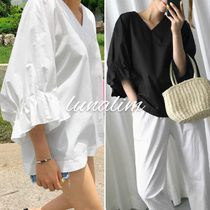 Casual Style Plain Cotton Medium Oversized Puff Sleeves