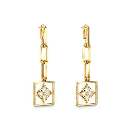 Louis Vuitton Earrings 2019-20AW B BLOSSOM EARRINGS, YELLOW GOLD, WHITE MOTHER-OF-P 2
