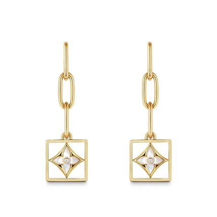 2019-20AW B BLOSSOM EARRINGS, YELLOW GOLD, WHITE MOTHER-OF-P