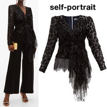 SELF PORTRAIT Leopard Patterns Long Sleeves Medium Lace Elegant Style