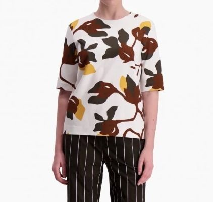 Crew Neck Flower Patterns Cropped T-Shirts
