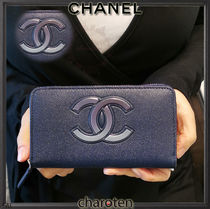 CHANEL ICON Unisex Calfskin Plain Long Wallets