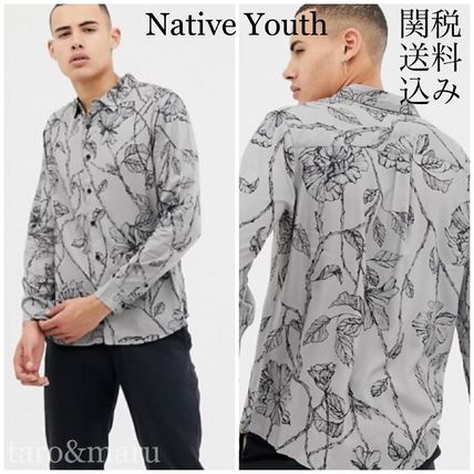 Button-down Flower Patterns Street Style Long Sleeves Shirts
