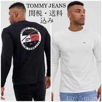 Tommy Hilfiger Crew Neck Street Style Long Sleeves Plain Cotton
