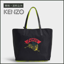 KENZO Casual Style Unisex A4 Plain Totes