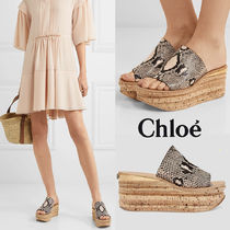 Chloe Camille Open Toe Casual Style Blended Fabrics Leather Python