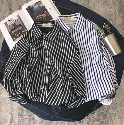 Shirts Button-down Stripes Street Style Long Sleeves Oversized