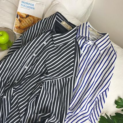 Shirts Button-down Stripes Street Style Long Sleeves Oversized 2