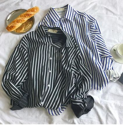Shirts Button-down Stripes Street Style Long Sleeves Oversized 3