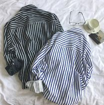 Shirts Button-down Stripes Street Style Long Sleeves Oversized 4