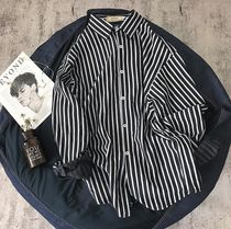 Shirts Button-down Stripes Street Style Long Sleeves Oversized 5