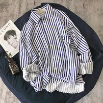 Shirts Button-down Stripes Street Style Long Sleeves Oversized 6
