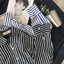 Shirts Button-down Stripes Street Style Long Sleeves Oversized 7