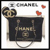CHANEL DEAUVILLE Casual Style Unisex Canvas A4 Plain Totes