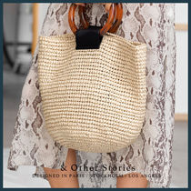 & Other Stories Blended Fabrics Street Style A4 Straw Bags
