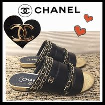 CHANEL ICON Casual Style Chain Plain Leather Sandals