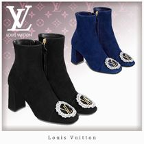 Louis Vuitton Square Toe Blended Fabrics Leather With Jewels Elegant Style