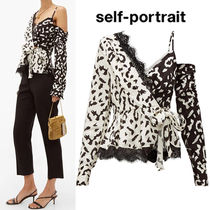 SELF PORTRAIT Leopard Patterns Peplum Bi-color Long Sleeves Medium Lace