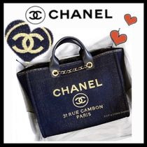CHANEL DEAUVILLE Casual Style Unisex Canvas A4 2WAY Plain Totes