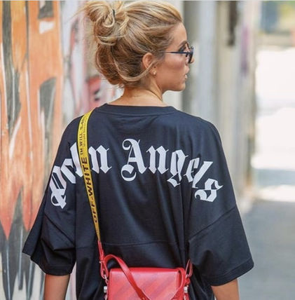 Unisex Street Style Cotton Short Sleeves Oversized Logo