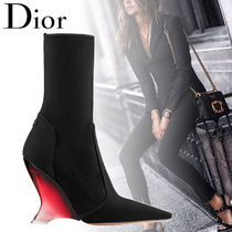 Christian Dior Blended Fabrics Plain Elegant Style Wedge Boots