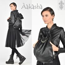 Aakasha Chain Plain Leather Handmade Backpacks