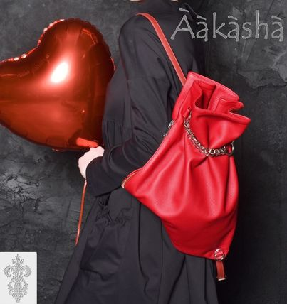 Chain Plain Leather Handmade Backpacks