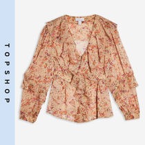 TOPSHOP Flower Patterns Casual Style Long Sleeves Shirts & Blouses