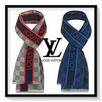 Louis Vuitton Other Check Patterns Unisex Silk Fringes Scarves