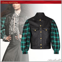 Louis Vuitton Short Gingham Casual Style Blended Fabrics Street Style