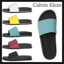 Calvin Klein Street Style Plain Leather Shower Shoes Shower Sandals