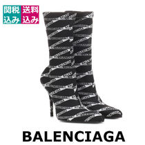 BALENCIAGA Plain Toe Rubber Sole Casual Style High Heel Boots