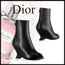 Christian Dior Plain Leather Elegant Style Wedge Boots